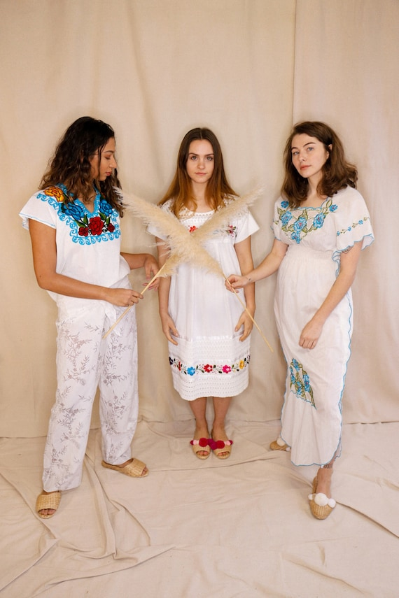 Vintage Summer Dresses, Mexican dress, white cotto