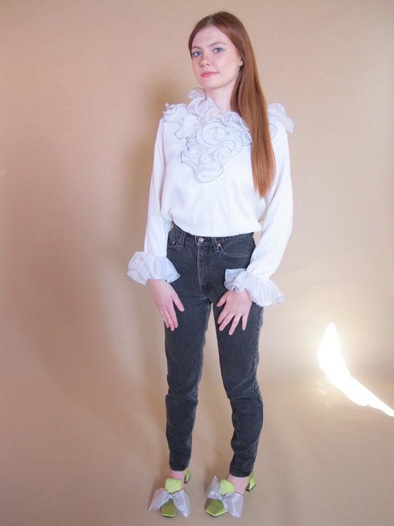 White Ruffle Peridot Blouse, 1960's blouse, 1960's