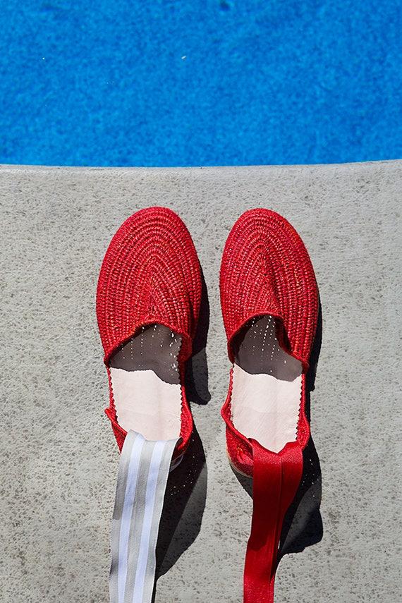 shoes Espadrilles changeable raffia shoes raffia raffia Red Raffia shoes red with wholesale ankle straps handmade Moroccan sandals shoes f5StxqHPqw