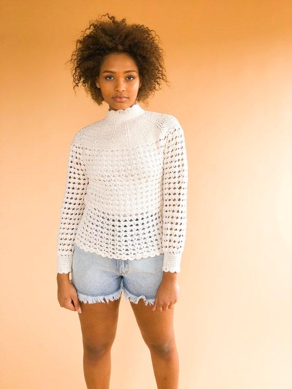 1970's handmade cream crochet top, vintage crochet