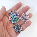 A *NEW* Set of 3 Enamel Gemstone Pins