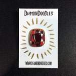 Single Enamel Ruby Pin