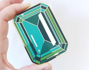 Large 3 INCH Emerald enamel lapel pin