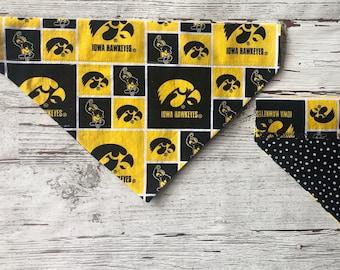 Iowa Hawkeyes Over Collar Dog Bandana, University of Iowa Pet Scarf, Reversible