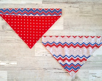 Red White & Blue Chevron Over Collar Dog Bandana, 4th of July, Memorial Day, Pet Scarf, Reversible