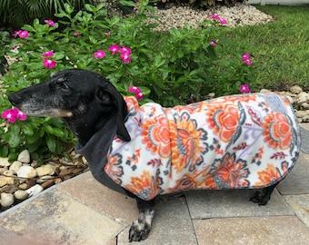 Floral Fleece Dog Coat, Flowers Stretchy Dog Sweater