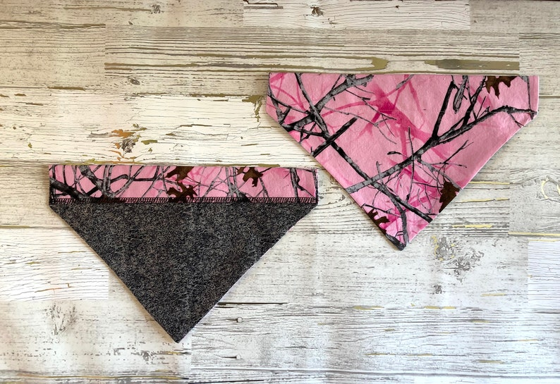 Pink Camo Over Collar Dog Bandana Camouflage Pet Scarf Reversible