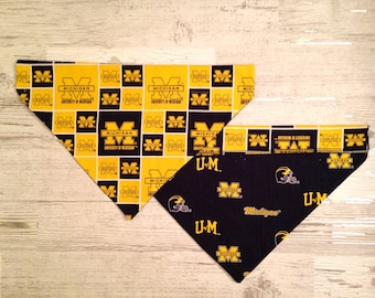 University of Michigan Dog Over Collar Bandana, U of M Wolverines, Pet Scarf, Reversible