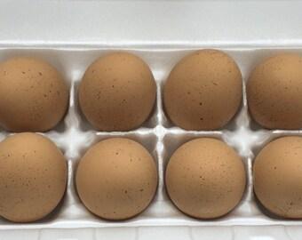 Ceramic Eggs, 1 Dozen Brown Speckled Chicken Eggs