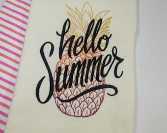 Hello Summer Dish Towel, Dish Towel with Embroidered Design, Pineapple Kitchen Decorations, Pineapple Towel, Towel with Pineapple