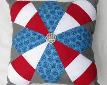 Red White and Blue Quilted Throw Pillow, Holiday Pillows, Patriotic Throw Pillow, Memorial Day Decorations, 4th Of July Decorations