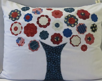 Patriotic Tree Pillow Cover, Independence Day Decorations, 4th of July Decorations, Pillow Cover Standard Size