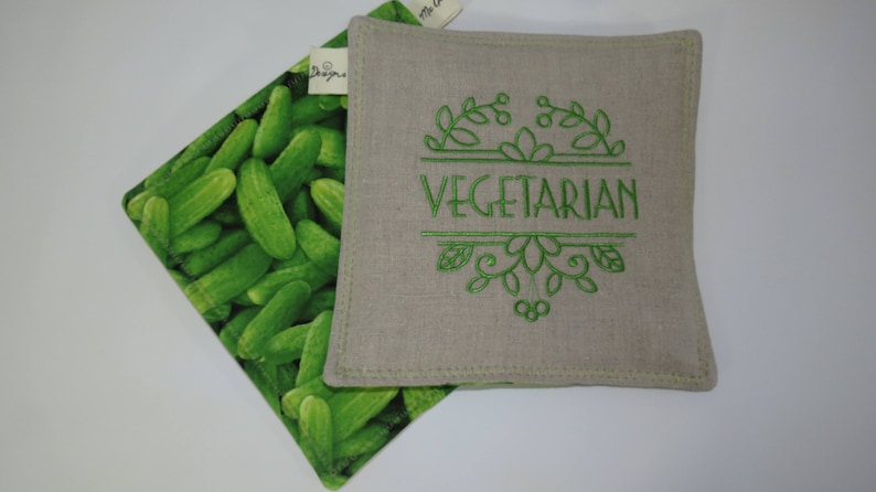 Vegetarian Kitchen Decor Embroidered Hot Pads Vegan Kitchen Decor Organic Kitchen Decor Pot Holders Embroidered Organic Pot Holders