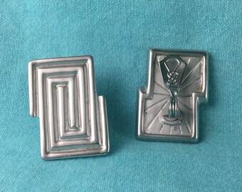 Vintage Silver Tone YSL Yves Saint Laurent Clip On Earrings