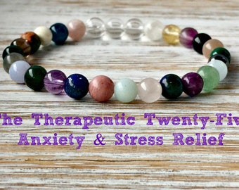 The Therapeutic Twenty-Five Anxiety & Stress Relief Bracelet, 6mm Healing Crystals Children, Gift for Her, Inner Peace-Soothing-Relaxation