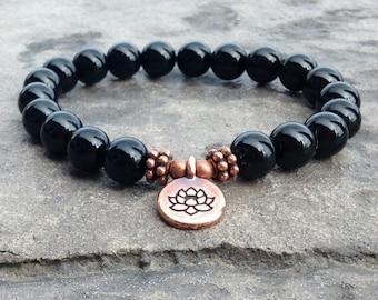 AAA Genuine Black Tourmaline Wrist Mala  //  8mm crystals, Shield from Negative Energy - Grounding the Root Chakra