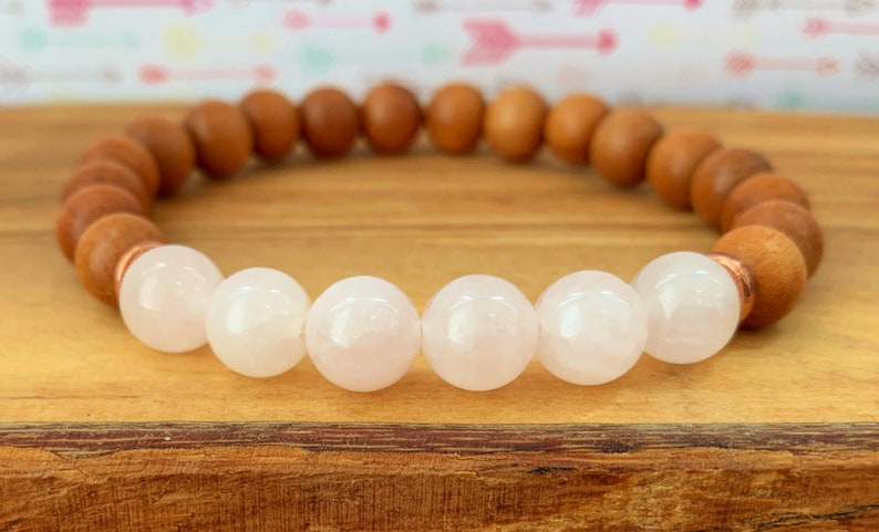 Sandalwood Healing The Heart Chakra Self Compassion Nurturing Ourselves Choose from 6mm8mm10mm Beads Rose Quartz Wrist Mala