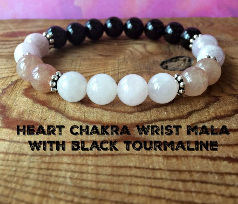 Heart Chakra & Black Tourmaline Bracelet, Anahata Jewelry, Grounding The  Root Chakra - Opening Our Hearts to Give and Receive Love