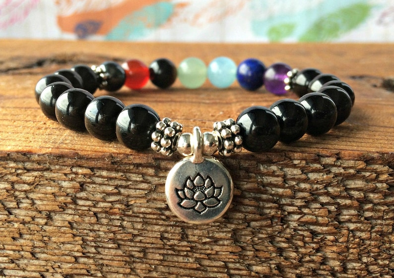 AAA Black Tourmaline 7 Chakra Bracelet, Root Chakra Healing - Protection -  Stress Relief - Grounding