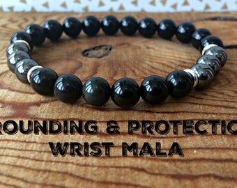 Grounding & Protection Wrist Mala, Root Chakra Jewelry, Black Tourmaline-Hematite-Black Obsidian, Strength-Empath Protection-Stress Relief