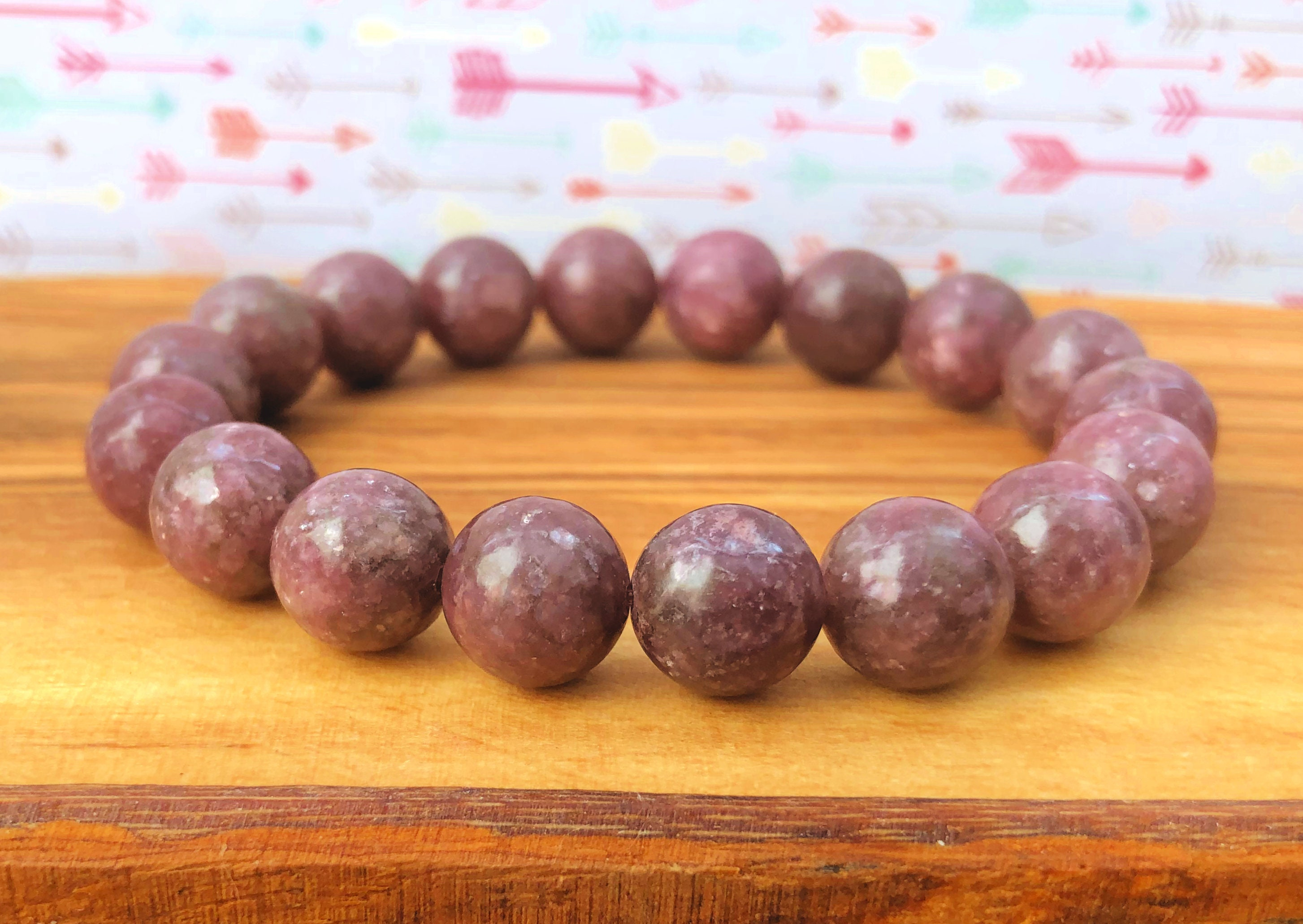 Lepidolite Wrist Mala, 10mm Beads, Opening the Heart Chakra - Stress Relief  - Living Mindfully