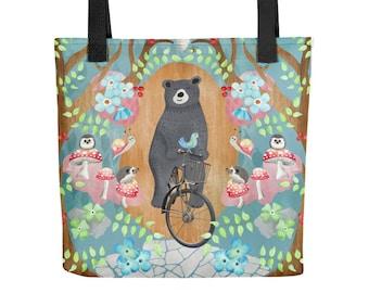 Bicycle Riding Bear Tote Bag | Bag | Studio Carrie | Gift