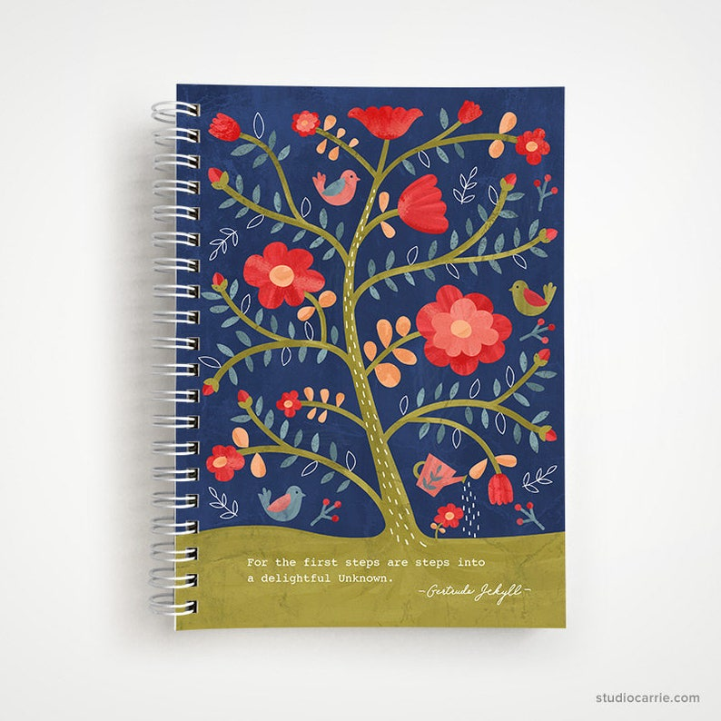 Rose Tree Flower Notebook  Studio Carrie Notebook  Gifts for image 0