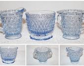 Set of 3 Blue Diamond Cut Glass Creamer Jug Sugar Bowl Open Border Fretwork Jam Jar Container