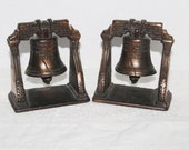Vintage Bookends Pair Liberty Bell Cast Iron Bronze Copper Finish Bookends Very Heavy