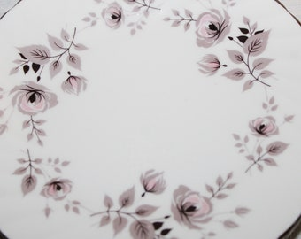 Vintage Foley English Side Plates Set of 6, Moon Rose Pattern Platinum Trim Pink Roses