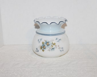 Vintage Gas Style Blue & White Glass Lampshade Fixture Ceiling Fixture Floral Blues Frilled Top Blue Trim