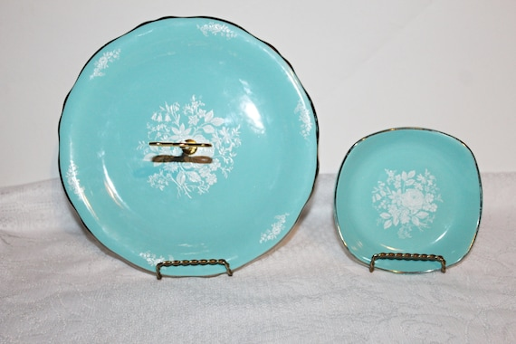 Vintage Royal Winton Single Turquoise Cake Stand With