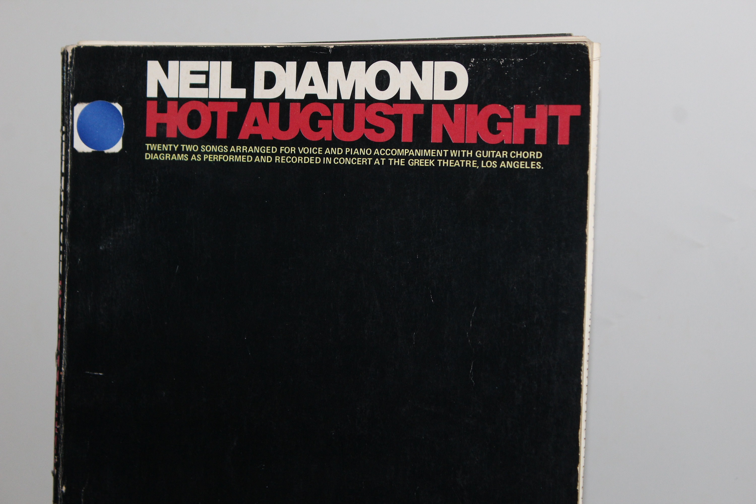 Neil Diamond Sheet Music Book Hot August Night 1973 Vocal Etsy