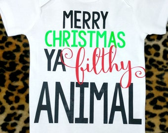 merry christmas ya filthy animal vinyl printed bodysuit or t shirt home alone shirt home alone creeper baby girls clothing baby boys - Merry Christmas Ya Filthy Animal Onesie