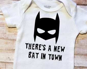 Baby Batman New Bat in Town Bodysuit, Baby Boys, Batman Gift, Tim Burton Batman, Batman Baby Shower Gift, Baby Boys hospital outfit
