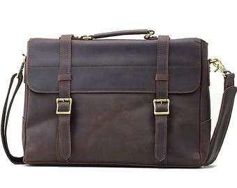 Manchester, Briefcase/Messenger bag, Red Brown