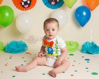Little monster first birthday - monster suspenders - polkadot - monster Birthday - first birthday boy - monster outfit - monster Birthday