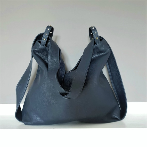 dcaedc648ba3 Bag and backpack in handmade italian leather convertible blue.