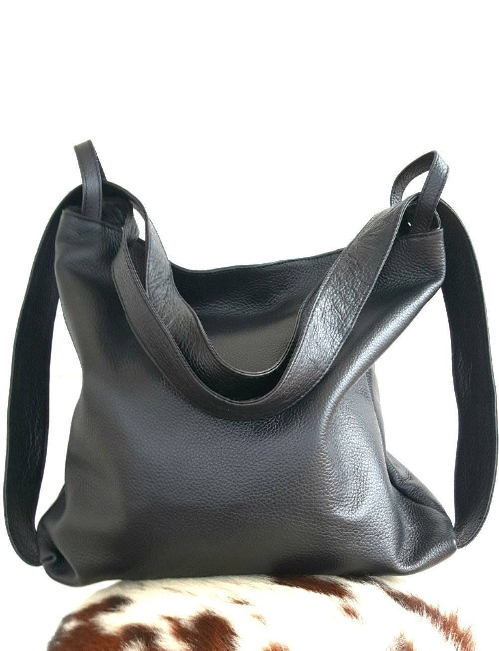 Bag convertible to leather backpack shoulders. Handmade in Italy, black woman purse. Multipurpose bags. Urban expressions handbags by Ganza