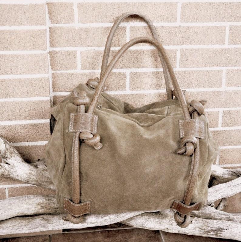 10b619944b14 Handbag with braided handles satchel hand bags suede purse