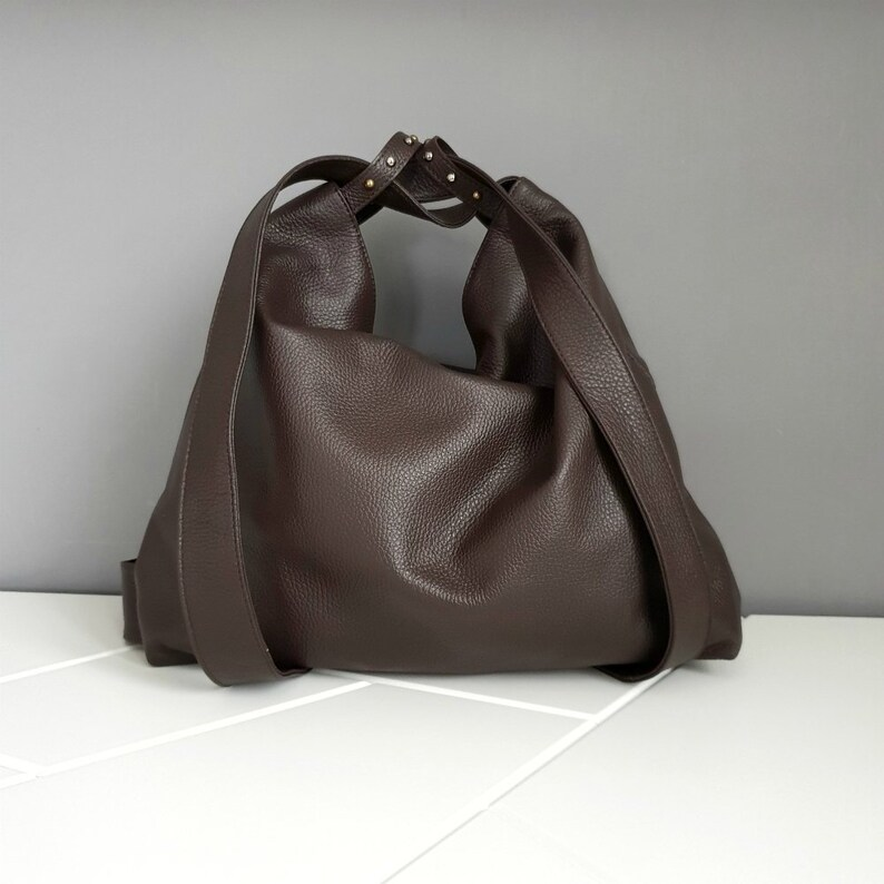 62c6e6b1e1 Woman brown leather backpack purse leather bag from italy