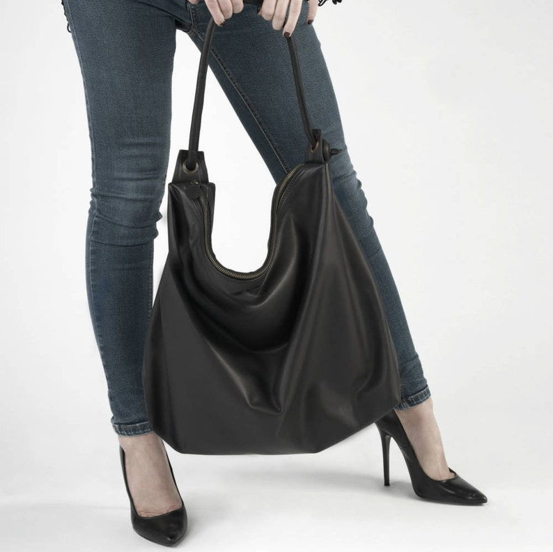 24776b2a5665 Hobo slouch bag Black leather extra large for woman handmade