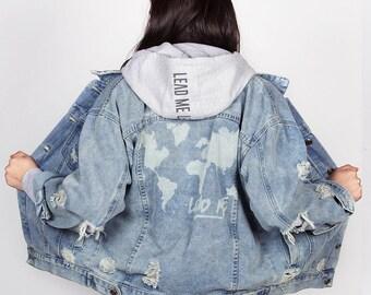 World map jacket | Etsy