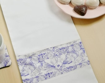 "White winter table cloth - ""Midsummer birds"" and ""how to spend time"""