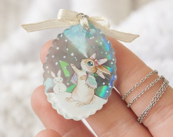 "Winter sparkle necklace pendant - ""how to spend time"" with Cloe, the bunny"