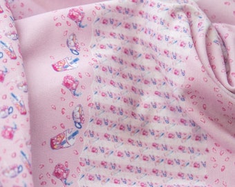 """Miniature jersey fabric for sewing doll clothes -  border print - """"Cherry Tree Café"""""""