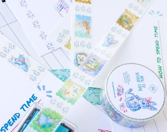 """Washi masking tape """"How to spend time"""" Cloe, the bunny, Max, the Fox and Irmgard, the owl"""