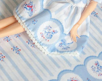 "Miniature fabric for sewing doll clothes - border print: ""Greetings by Post - Lace and Stripes"""