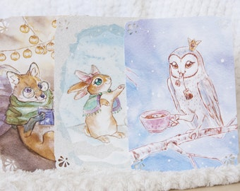 "9 Winter cards - ""how to spend time"" With Max the fox, Cloe the bunny and Irmgard the owl"