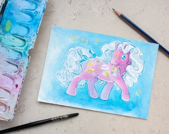 Original watercolor painting - bonnets and flower pony!